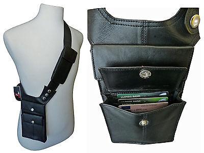 Black Leather Underarm Shoulder Holster Travel Wallet Bag Money Pouch Bags RL705