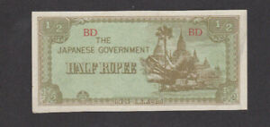 1/2 RUPEE EXTRA FINE+ BANKNOTE FROM JAPANESE  OCCUPIED BURMA 1942 PICK-13