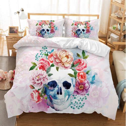 Flowers Skull 3D Quilt Duvet Doona Cover Set Single Double Queen King Print