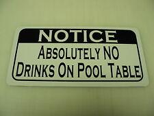 NO DRINKS ON POOL TABLE Sign 4 billiard Ball Bar Pool Hall frat House Home
