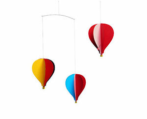 Flensted Hot Air Balloon Three 3 Hanging Baby Mobile Nursery Decor Danish