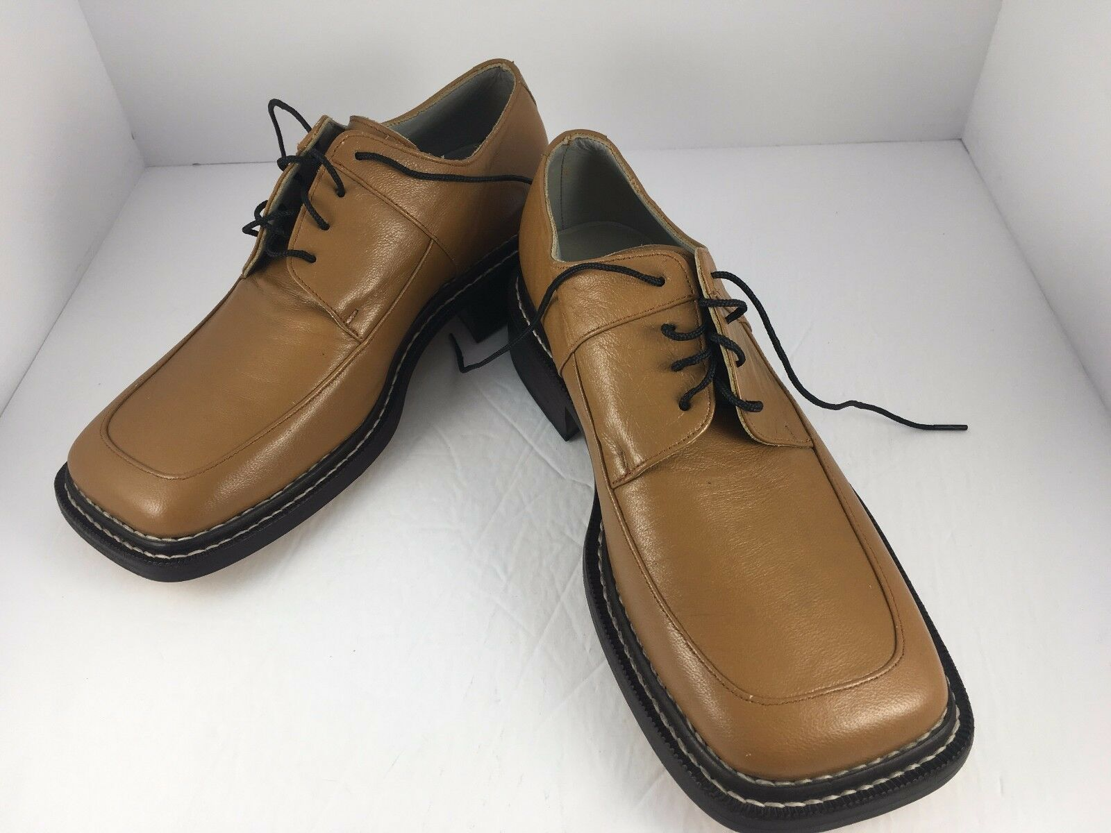 Bespoke Tan Leather Benchmade Handmade Broad Square Toe schuhe Leather Sole Sz 8D