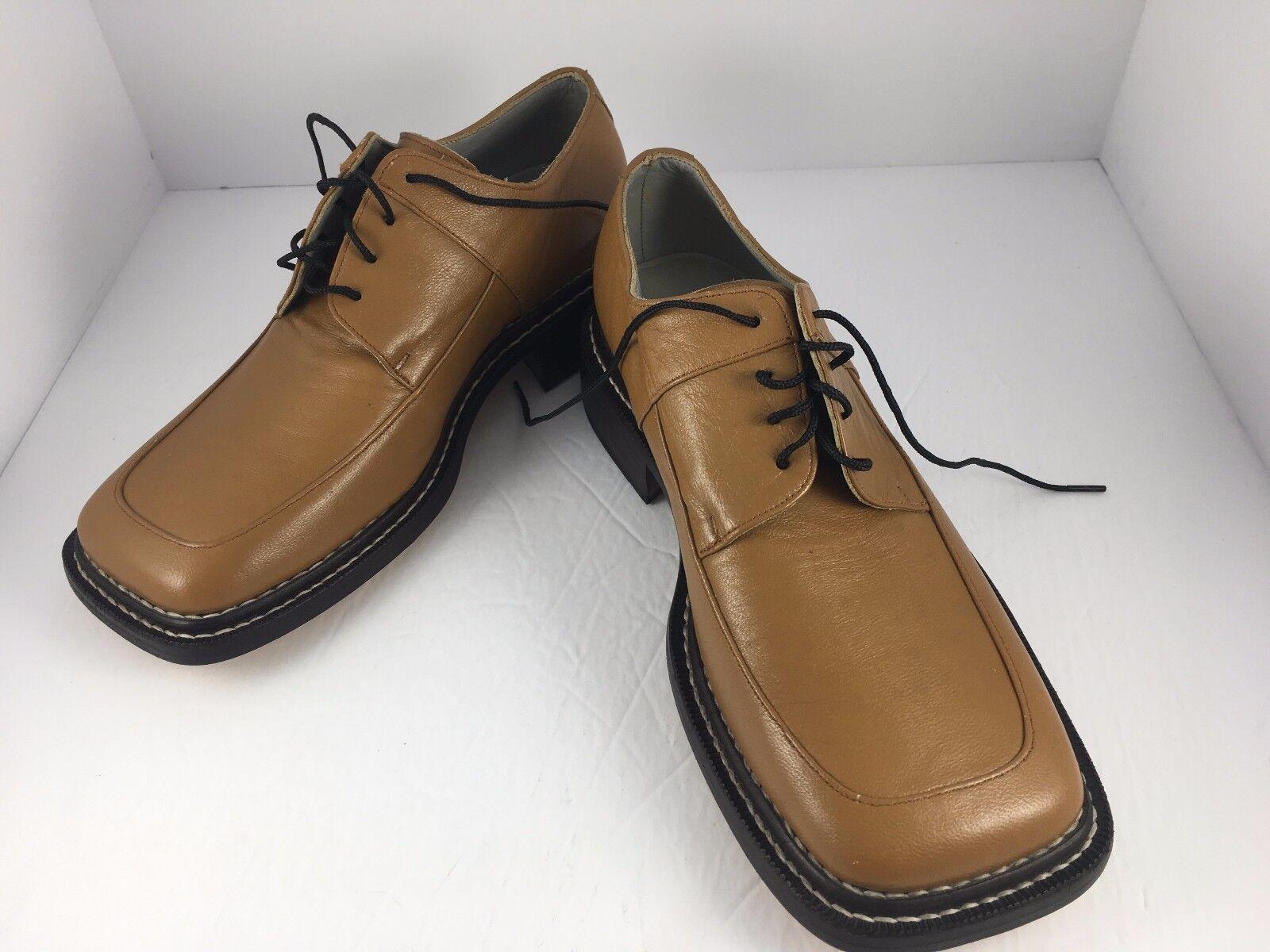 Bespoke tan Cuero Zapatos Puntera Cuadrada Benchmade Hecho a Mano Amplio Suela De Cuero D