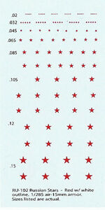 RU-102 - WWII Russian Stars (Red w/ White Outline) - 1/285-1/100 Decals