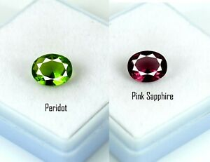 Festive Sales 4 Ct Pink Sapphire & Peridot Oval Gemstone Pair Natural Certified