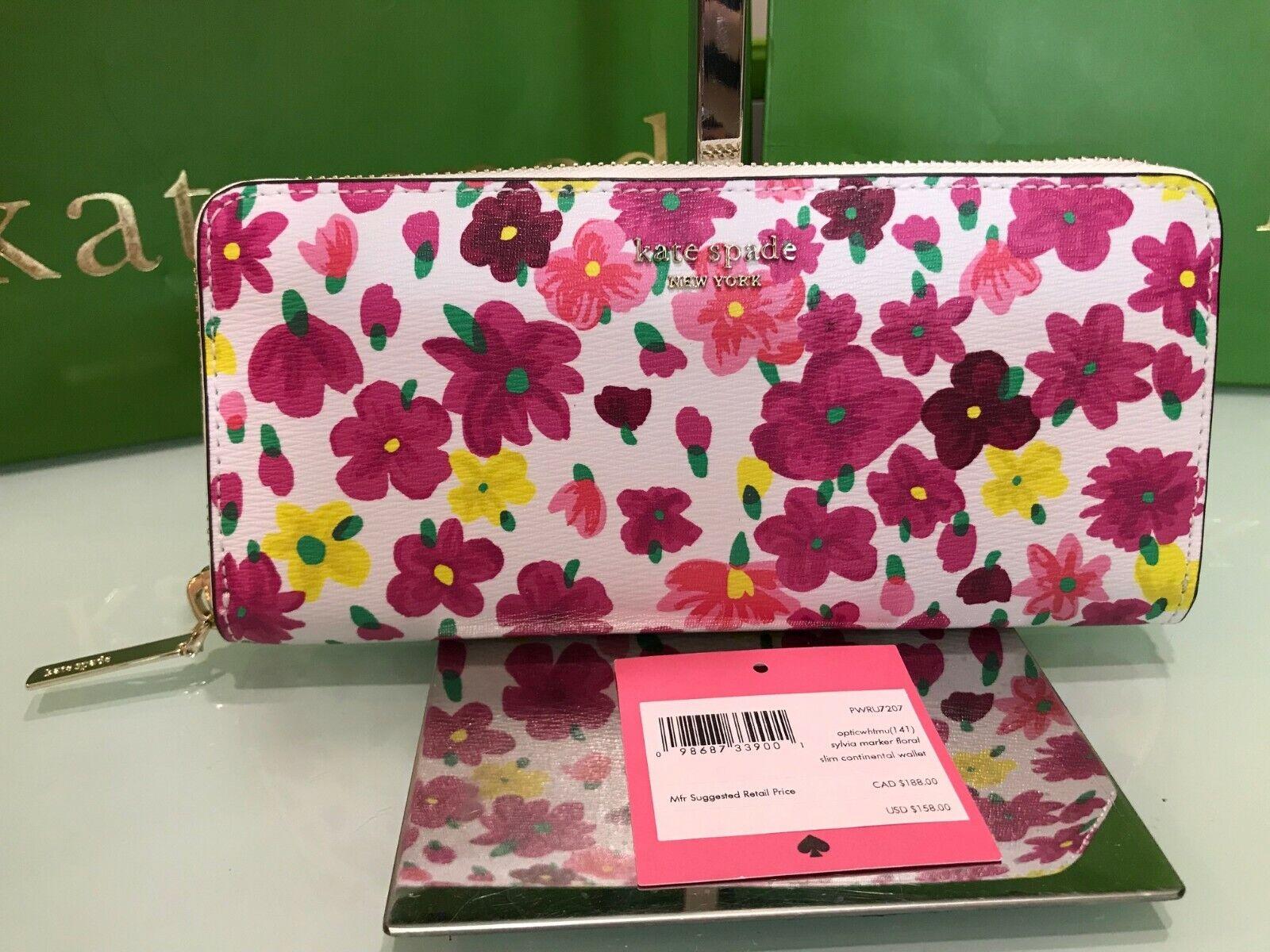 Kate Spade Sylvia Marker Floral Slim Continental Wallet 158 Optic