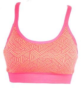 30158bf76424b MTA Sport Womens Medium Pink Orange Lined Racerback Sports Bra NEW ...