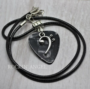 Guitar-Pick-amp-Bass-Clef-Music-Pendant-Necklace-ladies-Mens-Gift-Music-Lover