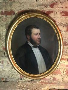 Peinture-Pastel-sur-papier-034-Homme-aux-favoris-034-signe-encadre-sous-verre-1862