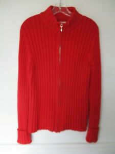 St-John-039-s-Bay-Women-039-s-Size-L-100-Cotton-Solid-Red-Long-Sleeve-Full-Zip-Sweater