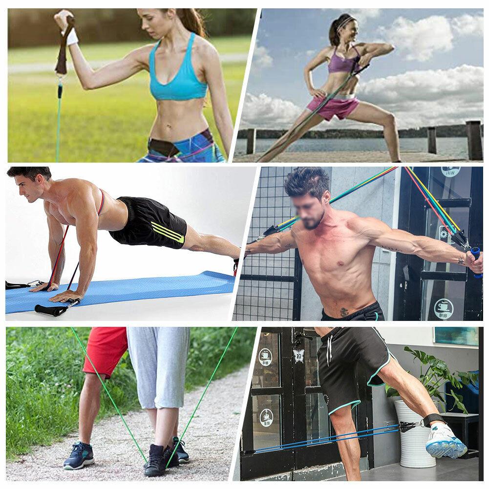 11 PCS Resistance Band Set Yoga Pilates Abs Exercise Fitness Tube Workout Bands 9