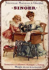 1889-French-Singer-Sewing-Machines-Vintage-Rustic-Retro-Metal-Sign-8-034-x-12-034