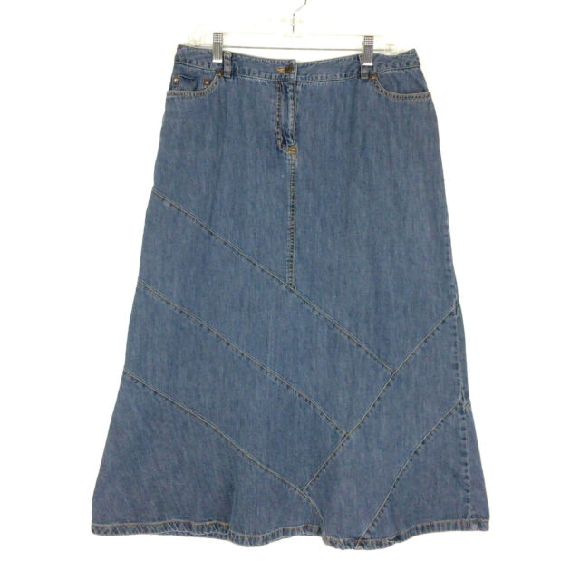 Style & Co Denim Skirt Size 12 Blue A-Line Patchwork Modest Modesty