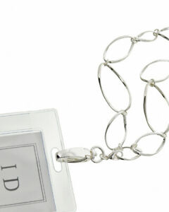 ID-Badge-Holder-Lanyard-Silver-Link-Necklace