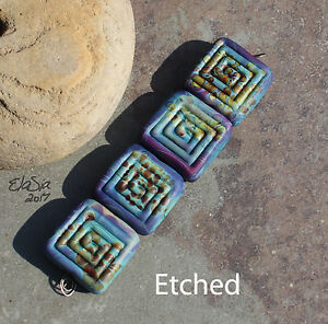 Terrapin-Labyrinth-Handmade-Glass-Lampwork-Square-Beads-elasia-SRA-MTO