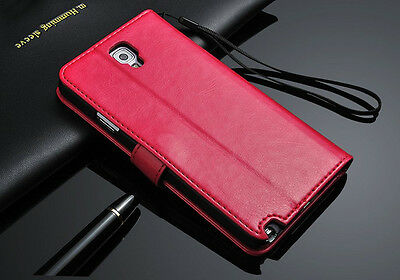 Genuine Real Leather Flip Wallet Case Cover For Samsung S3 4 5 6 S7 Note3 4 5