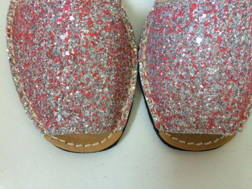 Glitter Leather Minorque//ESPAGNOL Avarca Sandales pour le printemps vacances d/'hiver//Sun