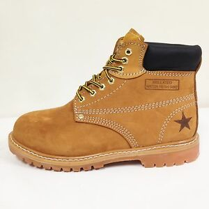 """New Men's Work Boots 6"""" Tan Nubuck Leather Water Resistant /Oil Resistant Sizes"""