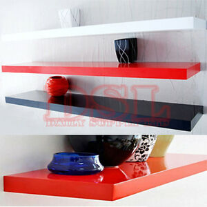 High-Gloss-Floating-Wall-Shelves-CD-BOOK-Display-40-100cm-5-Colour-Thickness-4cm