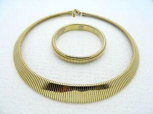 VTG-PARK-LANE-Gold-Tone-1980-039-s-Omega-Necklace-Choker-amp-Bracelet-Set