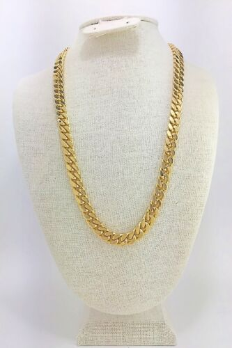 """or 36 Inches long 10mm Wide 24/"""" Gold Plated Cuban Link Chain Set BOX LOCK 30"""