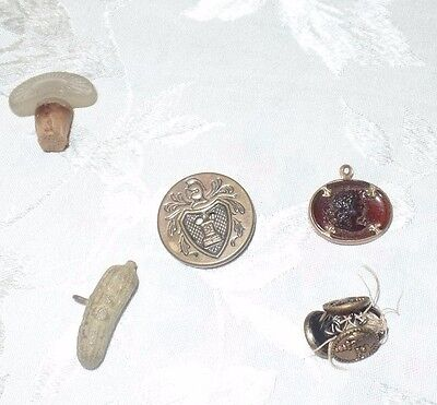 Lot of 8 Antique Buttons 5 + Pickle Jewelry Amber Cameo Glass Stopper Cork