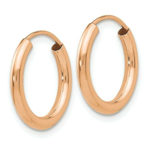 14k 14kt Rose Pink Gold  Polished Round Endless 2mm Hoop Earrings 15.2 mm