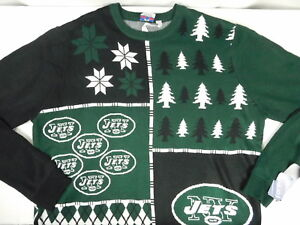 huge selection of 6bb60 b6714 Details about New York NY Jets Christmas Holiday Green Sweater NFL Team  Apparel Mens XXL New
