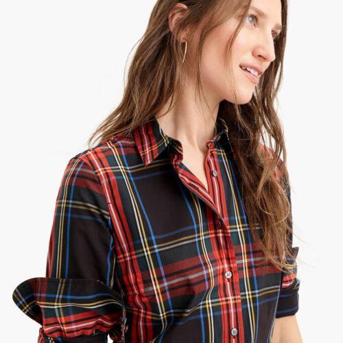 J.CREW Curvy Slim Stretch Perfect Shirt STEWART TARTAN K3862 0 2 4 14 16