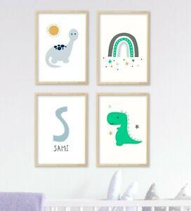 4 Cute Kawaii Dinosaur Personalised Prints Trex Nursery Baby Wall Art Pictures