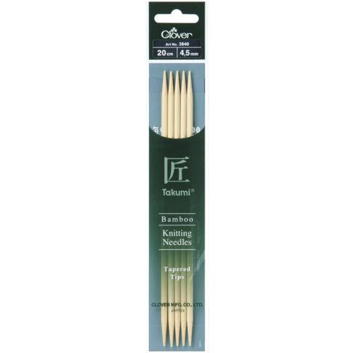 1x Aiguilles à tricoter de Double-ended Lot de cinq Takumi bambou 20cmx4.50mm Art