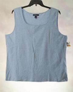 6a87a9a6671 LT67 Karen Scott Women s Plus Blue Square-Neck Sleeveless Tank Top ...