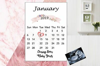 Pregnancy Announcement Calendar Due Date Personalised Monogram Unisex A4 Size