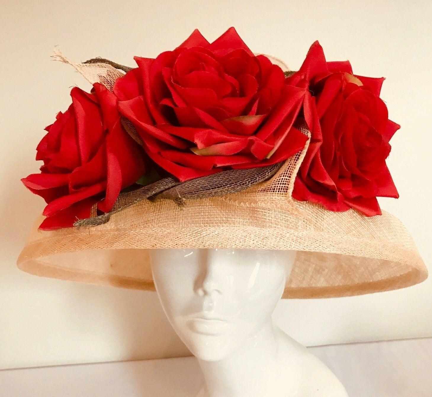One Off Neutral/Red Designer Millinery by Hat Couture Wedding Bridal Racing Hat