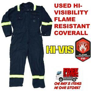 9518c8c6515 Image is loading Hi-Visiblitity-Flame-Resistant-FR-Used-Coveralls-Cintas-