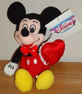 Disney Valentine Mickey Mouse Bean Bag Plush 8 W Tag New