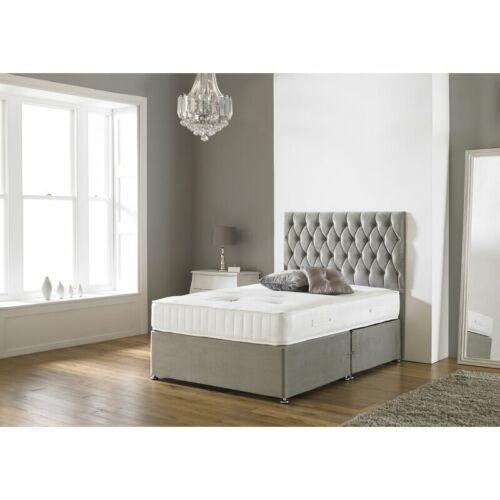 SUEDE MEMORY FOAM DIVAN BED SET WITH MATTRESS HEADBOARD 3FT 4FT6 Double5FT King