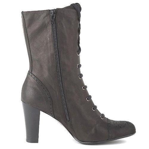 Nuevo Luzia Mirnar Pantorrilla Mujeres Mitad de Pantorrilla Mirnar Negro Infierno Cremallera lateral Bota con Cordones de Zapatos c7a6ad