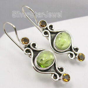 Mix-Stones-Dangle-Earrings-925-Pure-Silver-Vintage-Style-Earrings-1-1-2-inches