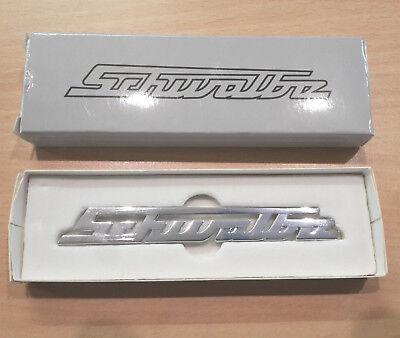 """Schriftzug// Emblem// Logo /""""Schwalbe/"""" Aluminium poliert Knieblech Simson KR51"""