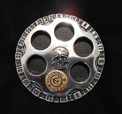 New Alchemy Russian Roulette Pewter Belt Buckle / Deadly Game Of Fate ULB7