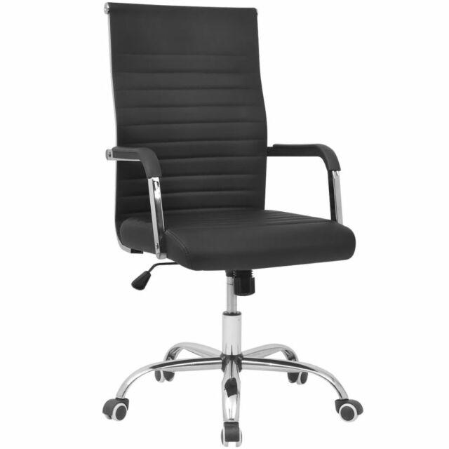Miraculous Vidaxl Office Chair Pu Leather Black Executive Swivel Computer Desk Furniture Beatyapartments Chair Design Images Beatyapartmentscom