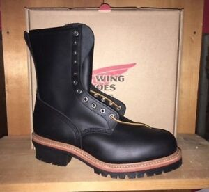 65653a48ace Details about 100% AUTHENTIC RED WING 2218 STEEL TOE LOGGER LEATHER WORK  BOOTS MADE IN USA