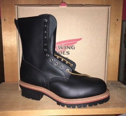 e2d63a38f26 100% AUTHENTIC RED WING 2218 STEEL TOE LOGGER LEATHER WORK BOOTS MADE IN USA