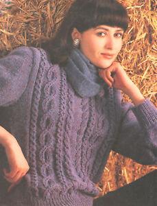 """Mujer Damas Sogas Y Cables Aran Sweater Tejer patrón 32 /"""" 44/"""""""