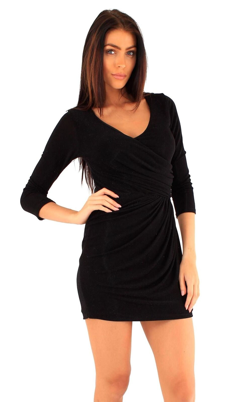 696ea5c277f26 Womens Sparkle Warp Over Going out ¾ Sleeve Evening Drape Dress 8-14 ...