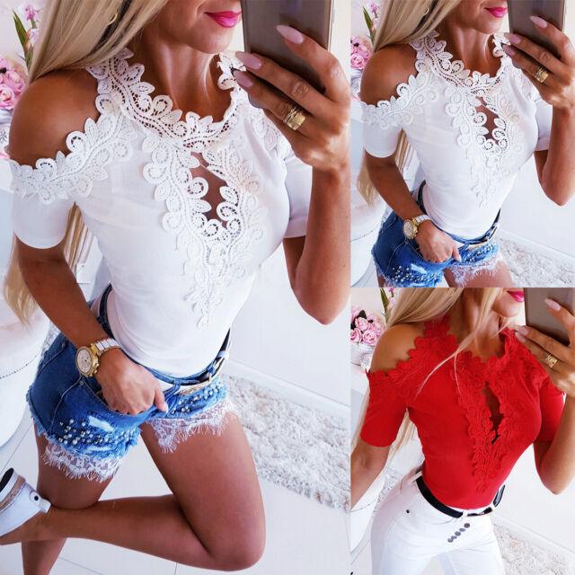 Womens Short Sleeve Casual Tops Lace Crochet Ladies Summer Beach Blouse T Shirt