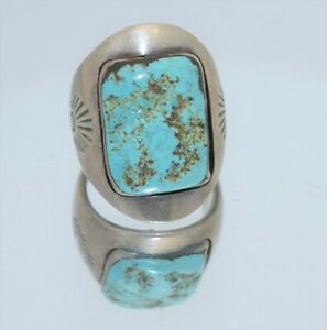 Zuni Indian Sterling Silver Turquoise Inlay Ring by Sheyka  Size 7
