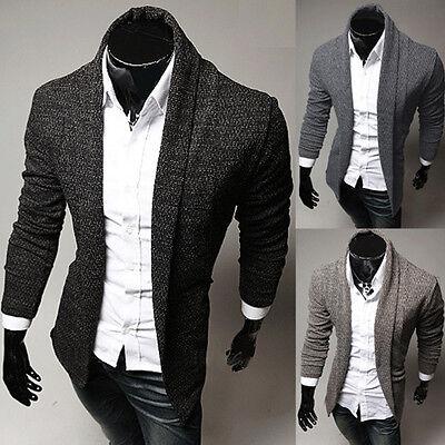 Fashion Mens Slim Fit Casual Cardigan Knitwear Sweater Suit Coat Jacket Blazers