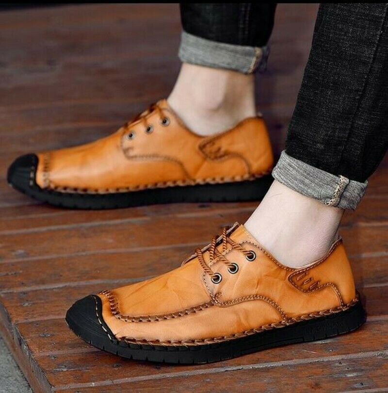 New Mens Leather shoes Flat Heel Round Toe Lace Up Ultra-light Formal Brogue